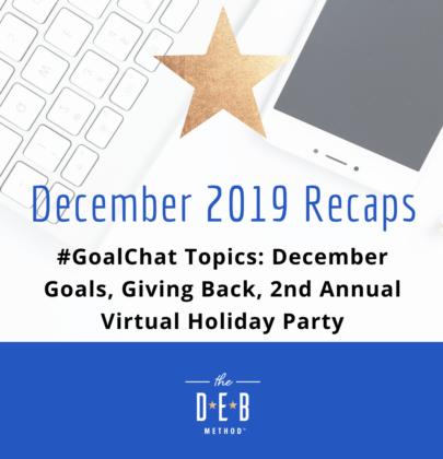 December 2019 #GoalChat Recaps